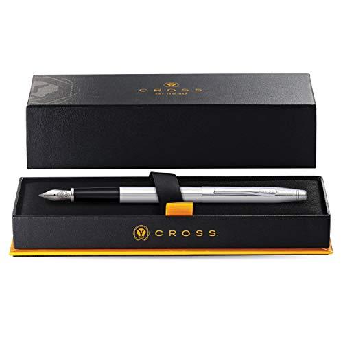 Cross Classic Century Lustrous Chrome Fountain Pen with Stainless Steel Medium Nib