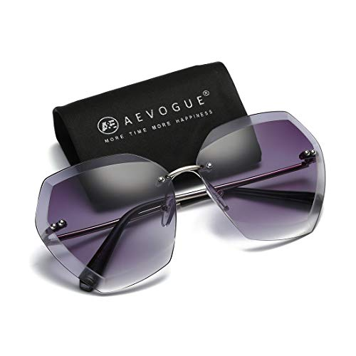 AEVOGUE Sunglasses for Women Oversized, Silver&Gray, Size One Size Fits All