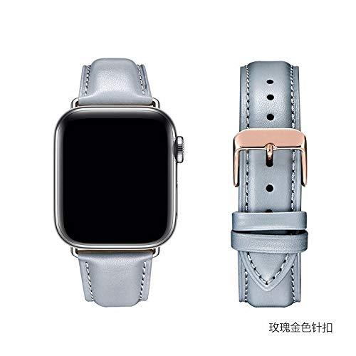 Diseño minimalista Compatible con la correa de cuero de vaca capa superior de 38mm / 40mm / 42mm / 44mm Apple Seguir correa, correa de piel compatible con la serie IWATCH 5/4/3/2/1 moda colocación
