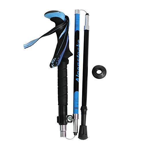 DSJSP Pastelero Portátil Pista De Senderismo Cane Plegable 3 Secciones Trekking Postes De Senderismo Fibra De Carbono Pasillo Anti-Shock (Mujer Azul)