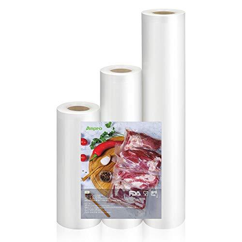 Anpro 3 Volúmenes de Diferentes Tamaños de Bolsas de Vacío de Alimentos,Pake de 3 Rollos 28x500cm,20x500cm y 15x500cm
