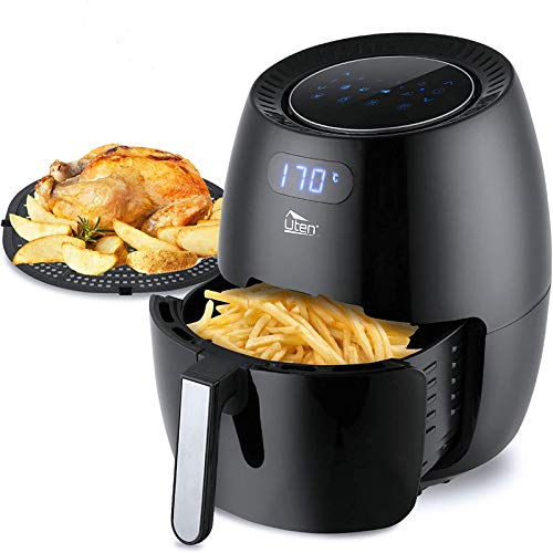 Air Fryer, Uten 6.5L Power Air Fryer with Digital Display, Rapid Air Circulation System Adjustable Temperature and 30 Minute Timer for Healthy Oil Free & Low Fat 1800W