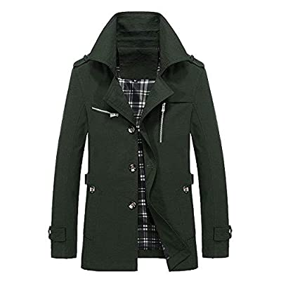 iYYVV Mens Winter Warm Jacket Overcoat Outwear Slim Long Trench Buttons Coat Jacket Army Green