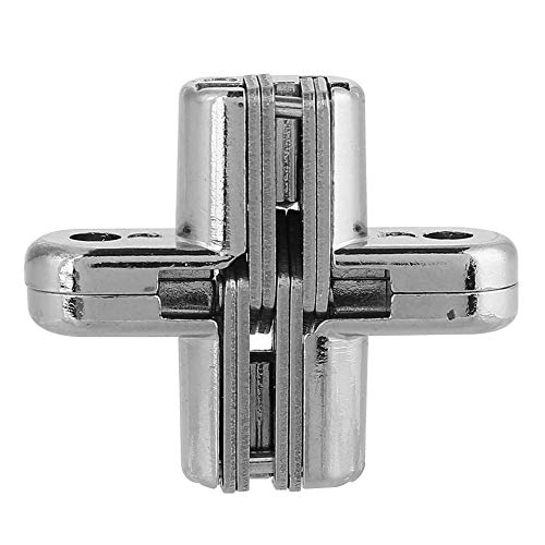 Akozon Onzichtbaar scharnier van zinklegering, huishouden 180 graden zilver, gekruiste deurscharnier voor deur en tafel XS
