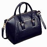 Mdsfe Bolso de Hombro para Mujer en imitación de Cuero Satchel Cross Body Tote Bag (Negro) - Negro
