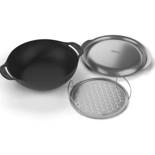 Weber gietijzer wok gourmet BBQ systeem + stoom, zwart, 40,5 x 35,2 x 14 cm, 8856