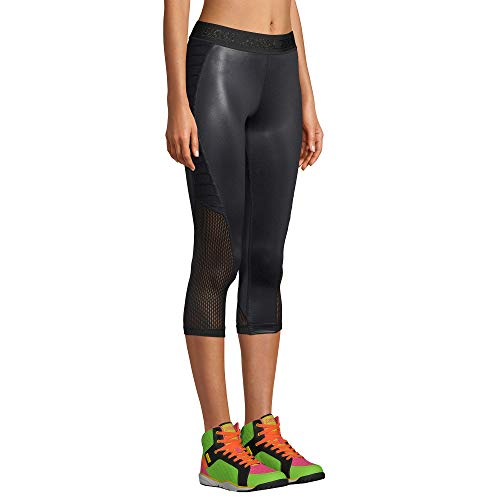 Zumba Print Capri Fitness Workout Gym Leggings Women with Breathable Mesh Panels, Negrita a, XS para Mujer