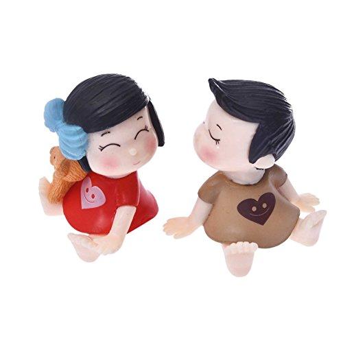 tianxiangjjeu Miniatuur Landschap Tuin Accessoires 2 Stks Paar Mini Pop Meisje Jongen Liefhebbers Ornamenten Red + Grey