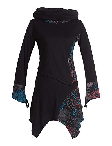 Vishes - Alternative Bekleidung - Asymmetrische Bedruckte Langarm Damen Blumen-Tunika mit Schalkragen schwarz 50