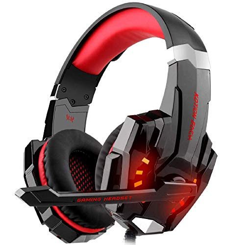 Auriculares Gaming PS4, Galopar Cascos Gaming, Premium Stereo con Microfono Gaming Headset con 3.5mm Jack para PC/Xbox One/Movil - con Gancho y 2 x Cable de Extension-Rojo