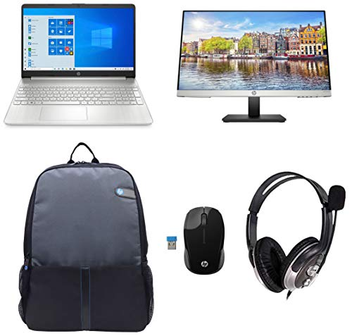 HP 15s eq0007au 15.6-inch Laptop (3rd Gen Ryzen 3 3200U/4GB/256GB SSD/Windows 10/MS Office 2019/Radeon Vega 3 Graphics), Natural Silver + Headset + Bag + Printer + Mice + Monitor