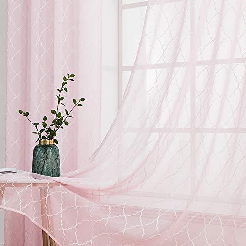 MIULEE Voile Marokko Vorhang Sheer mit Ösen Transparente Optik Gardine Ösenschal Wohnzimmer Fensterschal Luftig Lichtdurchlässig Dekoschal für Schlafzimmer 2er Set 145 x 140cm (H x B) Rosa