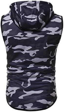 RETUROM -Camisetas Camiseta para Hombre, Mangas con Capucha, Blusa sin Mangas y Estampado de Camuflaje Casual de Verano para Hombre