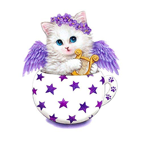 QGWMCD DIY 5D Diamond Painting Angel animal cat cup Full Drill Painting Rhinestone Embroidery Pictures Cross Stitch Arts Crafts for Home Wall Decor 11.8 inchx15.7 inch (Frameless)