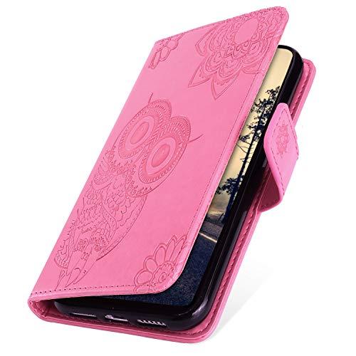 MoreChioce kompatibel mit Samsung Galaxy A40 Hülle,Galaxy A40 Handyhülle,Premium Rosa Eule Glitzer Leder Flip Case Schutzhülle Stand Klapphülle Protective Brieftasche Magnetische mit Kartenfach