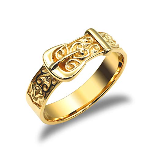 Jewelco London Men's Solid 9ct Yellow Gold Single Buckle Ring, Size R