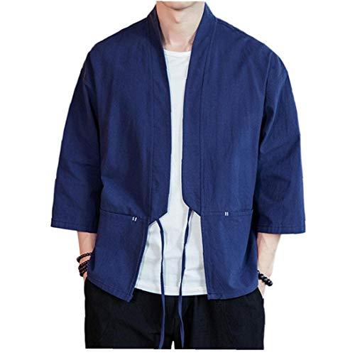 Ohomr Mezcla del algodón de Lino Túnica Abierto Kimono Chaqueta Hombres del Estilo Chino de Tres Cuartos Mangas Armada XX-Large