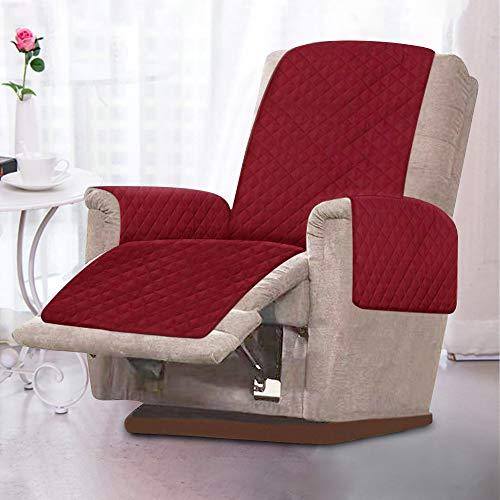 Sesselschoner, Sesselauflage, 1 Sitzer Sesselschutz Sofaüberwurf mit 2.5 cm Breiten Verstellbaren Trägern Weich,Temparaturausgleichen (Rotwein)