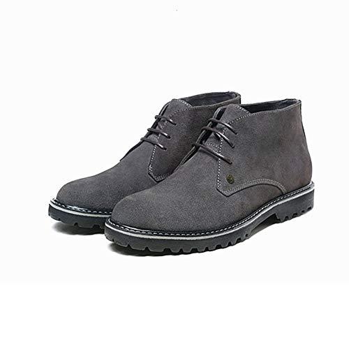 Casual Suede Shoe Stiefel for Herren Stiefeletten Lace up Suede Round Toe Anti-Rutsch-Stitching Blockabsatz Solid Color Vegan Tragen-wider Herren Sneaker (Color : Grey, Größe : 42 EU)