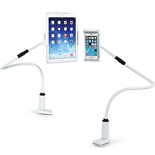 MyArmor Adjustable Goose Neck Cellphone Mount/ iPad Mount/ Tablets Mount Holder Flexible with Bolt Clamp Bracket 360 Degree Rotating suitable in Bed, Table for Apple iphone 7 /6 / ipad Mini 3 / ipad Air 2 / Galaxy Tab 4 10.1 / Galaxy Tab A 9.7 / 8.0 And for any other 4.0-10.1 Inch Screen Device (Black & White)