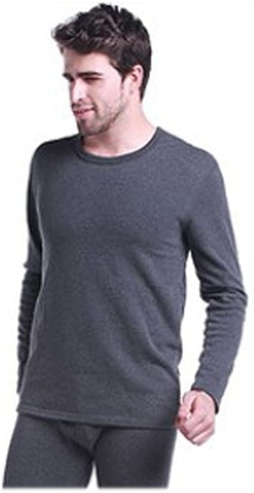 Elegance1234 Men's Thermal Charcoal 100% Cotton (240 Gsm) Soft Long Sleeve Fitted T-shirt Top
