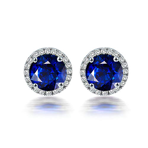 ANAZOZ Pendientes Zafiro Mujer,Pendientes de Mujer Oro Blanco 18 Kilates Plata Azul Redondo Zafiro Azul 1.5ct Diamante 0.16ct