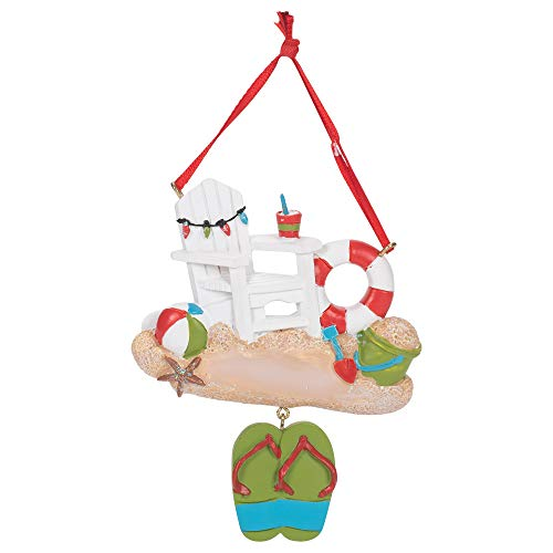 Kurt Adler A2013 Beach Chair with Sandals Ornament, 4-inch High, Resin