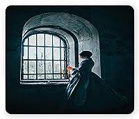 中世のマウスパッド通気して傷を防ぐ、中世スタイルウィンドウゴシックドラマティックアートの前にビクトリア朝のドレスを着た女性、標準サイズの長方形滑り止めラバーマウスパッド通気して傷を防ぐ、ブルー