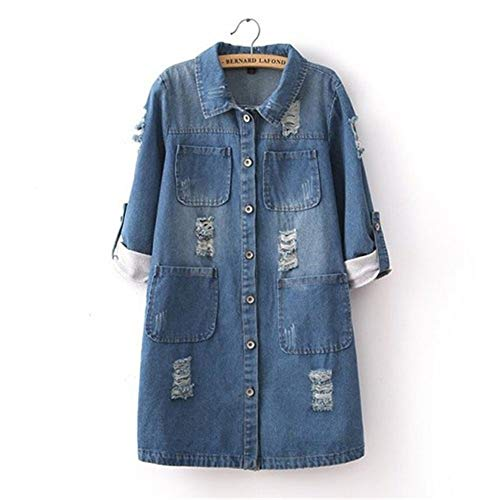 CLZC Plus Size jeansjas vrouwen lente herfst mode lange mouwen jeans mantel vrouwelijke casual geribbelde tops