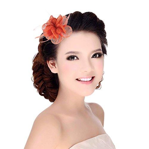 GEMVIE Damen Haarclip Haarband mit Federn Fascinator Partyhut Blumen Orange