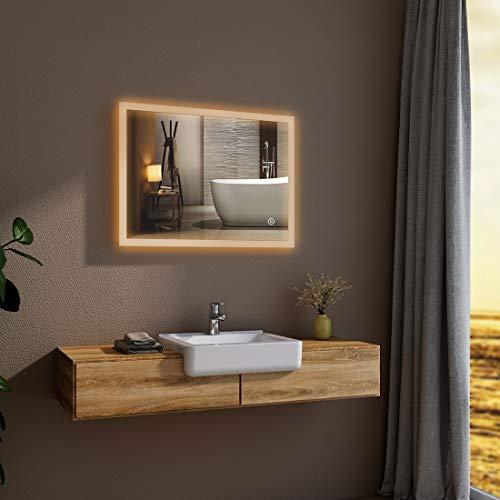 Bath-mann LED Badezimmerspiegel Wandspiegel 80 x 60 cm mit Badspiegel mit Beleuchtung Warmweissen Lichtspiegel,IP44 Energiesparend