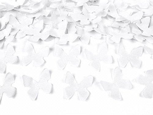 4x Konfetti Butterfly; Konfettibombe; Konfettikanone; Konfetti-Shooter: 40cm-per Druckluft bis 6m, Schmetterlinge in weiß für Hochzeit, Standesamt, Party ...