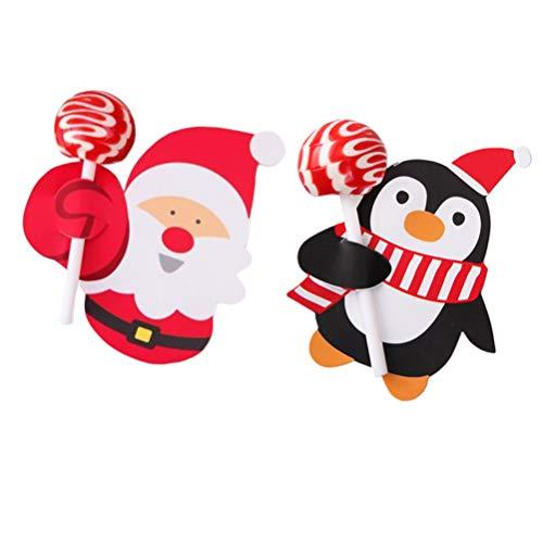 STOBOK 2 piezas de tarjetas de piruletas de papel titular de dulces santa pingüino stweets titulares para baby shower favores de fiesta de cumpleaños de navidad