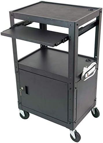 Steel Frame AV Cart for Presentation Audio Visual Station with Locking Cabinet for Multi Media product image