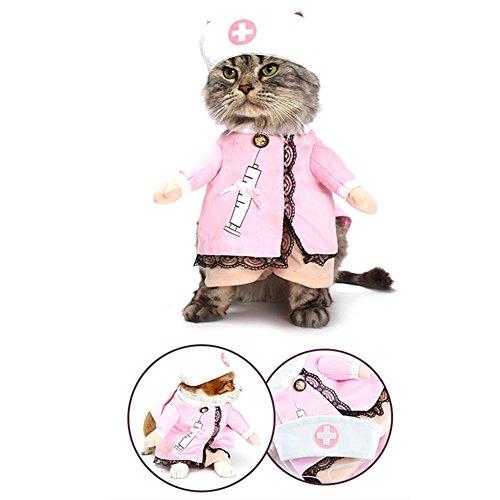 NACOCO Dog Cat Nurse Costume Pet Nurse Clothing Halloween Jeans Outfit Apparel (S)