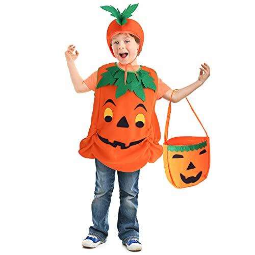 AMOR PRESENT Halloween Pumpkin Costume, 3 PCS Pumpkin Cosplay Costume for 3T 4T Toddler Girls Boys Halloween Cosplay Party