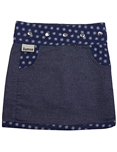 Sunsa Mädchen Rock Minirock Jeansrock Wende-Wickelrock Sommerrock kurz, Mini Jeans Mädchenrock Girls Skirt, 2 Kinder Röcke in einem, Verstellbarer Größe, Kid's Coole Sachen, Geschenk 15710