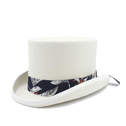 CHENDX Sombrero, Sombrero de Copa Steampunk de Lana de Bricolaje con patrón Azul Banda de Tela para Mujeres (Color : White, Size : 61CN)