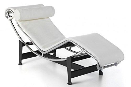 Group Design Poltrona Chaise Longue LC Pelle bianca H12-P-bianca