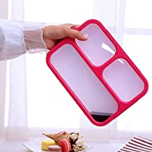 WZHZJ 1000ml Kitchen Lunch Box Meal Prep Container Leakproof Bento Box 3/4-Compartments Microwavable Food Storage Boxs wit...