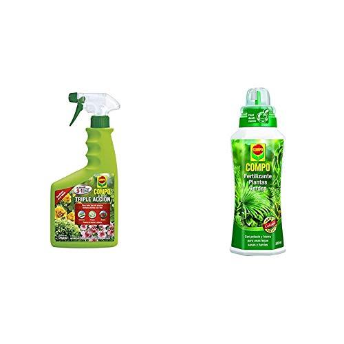 Compo Triple Acción Protección contra Insectos, Hongos y ácaros, para Plantas de Interior y Exterior, 750 ml + verdes para plantas de interior, balcón y terraza, 500 ml
