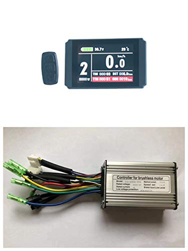 NBpower 36V/48V 350W 17A Brushless DC Motor Controller Ebike Controller +KT-LCD8H Color Display One Set,Used for 350W Ebike Kit.