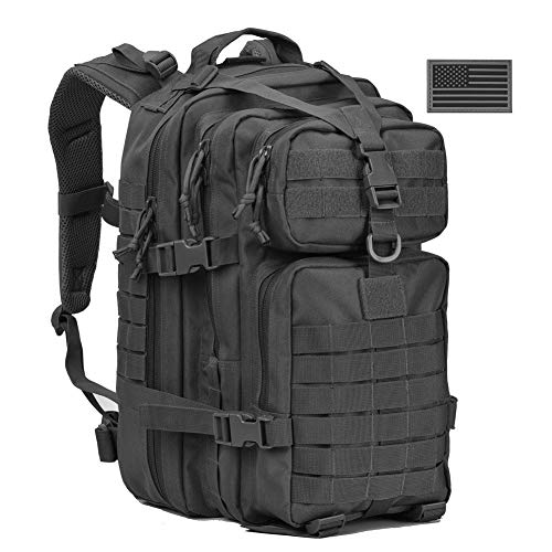 REEBOW G Military Tactical Backpack,Small Molle Assault Pack Army Bug Bag Backpacks Rucksack Daypack with Tactical US Flag Patch Black