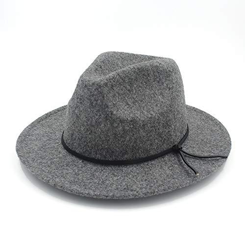 XY-hat Calentar Moda Hombres Mujeres Sombrero Sombrero de Iglesia de ala Ancha Sombrero de Panamá Pop Sombrero Informal de Viaje al Aire Libre Moda (Color : Light Gray, Size : 56-58)