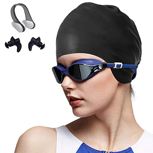 OKELA Silicone Solid Swim Cap,3D Ergonomic Design Comfortable Bathing Ideal for Curly Short Medium Long Hair,Swimming Cap for Women and Men, Shower Caps Keep Hairstyle Unchanged
