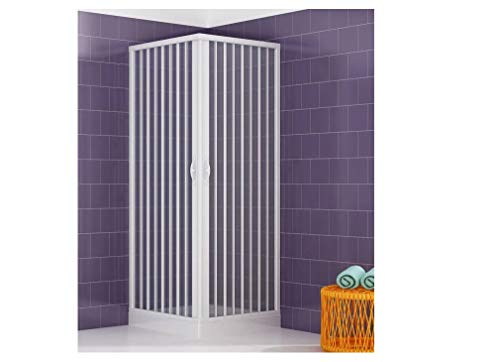Cabine de douche en PVC - 80 x 80 cm - Hauteur : 170 cm - Entrée d'angle - Blanc - Ouverture maximale par portes pliantes