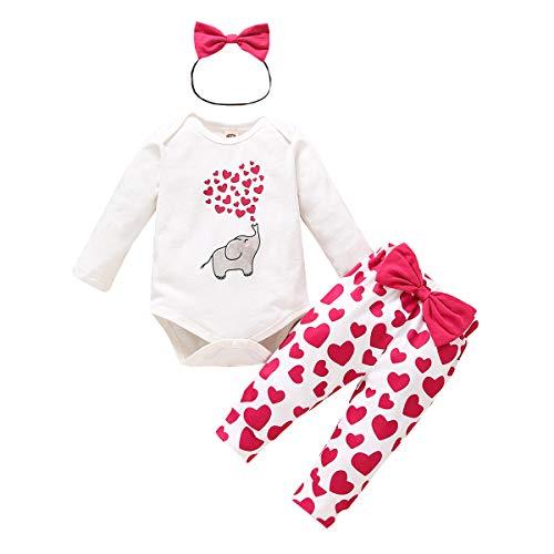YQYJA Conjunto de trajes de bebé recién nacido con estampado de corazón y volantes de manga larga mameluco de punto rojo pantalones Headwear 3pcs