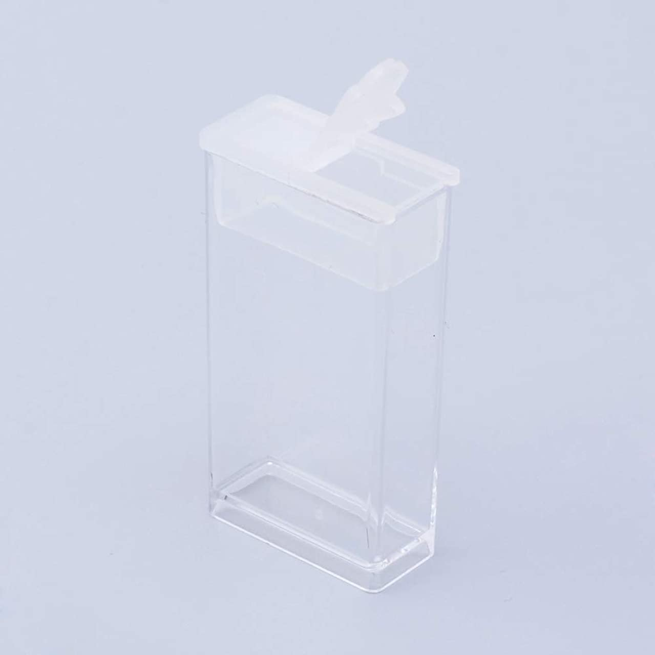 NBEADS 6 Pcs Clear Plastic Rectangle Mini Beads Storage Containers Box Case with lid for Small Items, Pills, Herbs, Tiny Bead and Jewerlry Findings