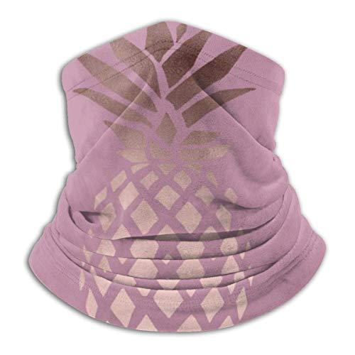 Elegante máscara elástica de piña tropical de color oro rosa transparente, multifuncional, para el cuello, bufanda, resistente al viento y al polvo