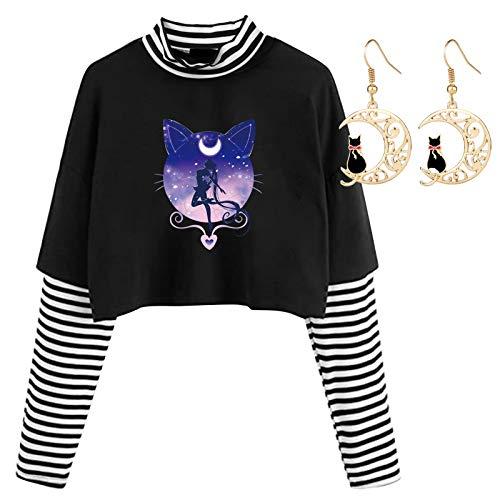 Gaosaili Sailor Moon Crop Tops para mujer moda sexy rayas costura algodón manga larga camisa Giving Sailor Moon Pendientes